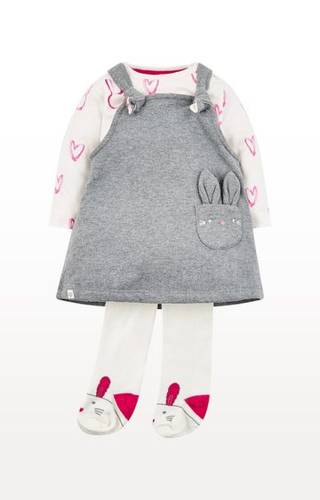 Mothercare | Bunny Pinny Dress Three Piece Set