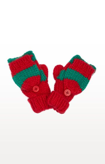 Mothercare | Green and Red Stripe Elf Converter Gloves