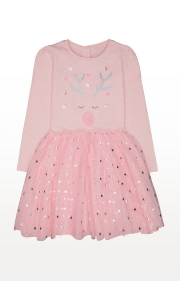 Mothercare | Pink Reindeer Twofer Dress