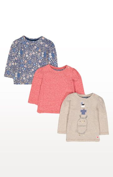 Mothercare | Oatmeal, Floral and Pink T-Shirts - Pack of 3