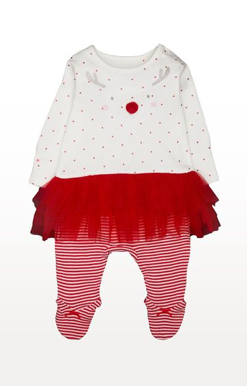 Mothercare | Red Printed Reindeer Tutu All In One