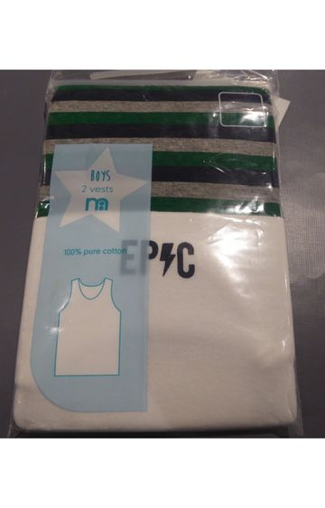 Mothercare | White and Green Solid Vest - Pack of 2