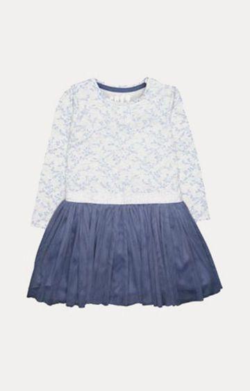 Mothercare   Silver And Blue Sprig Twofer Dress