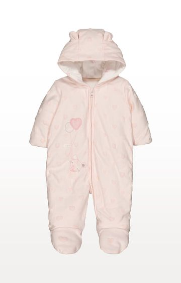 Mothercare | My First Little Mouse and Hearts Pink Velour Pramsuit