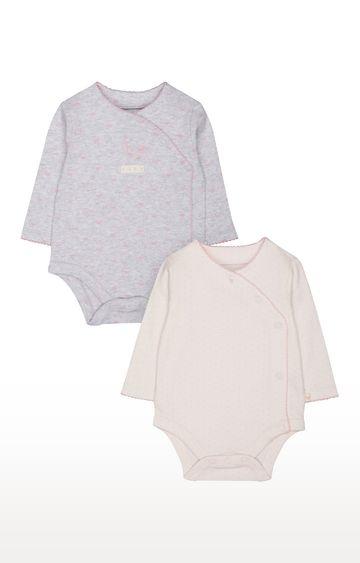 Mothercare | Grey & Pink Printed Romper - Pack of 2