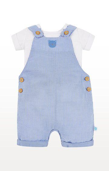 Mothercare | Blue Striped Bear Bibshorts and White Bodysuit Set