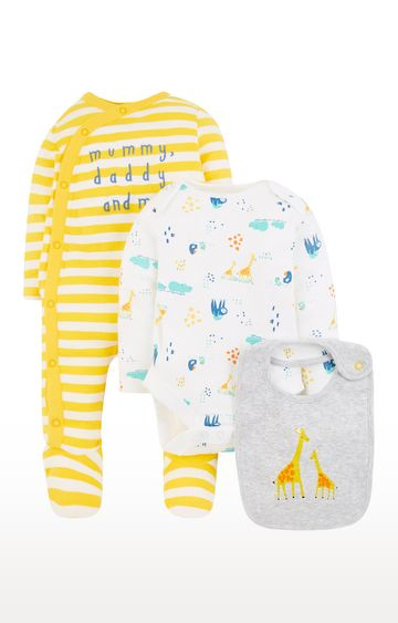 Mothercare | Yellow and White Printed Romper Set