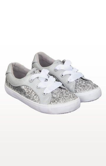 Mothercare | Silver Glitter Ribbon Trainers