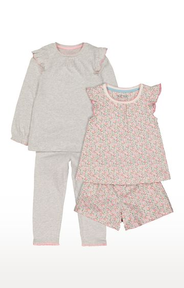 Mothercare | Pink and Grey Printed Nightsuit - Pack of 2