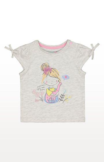 Mothercare   Grey Dinosaur and Girl T-Shirt