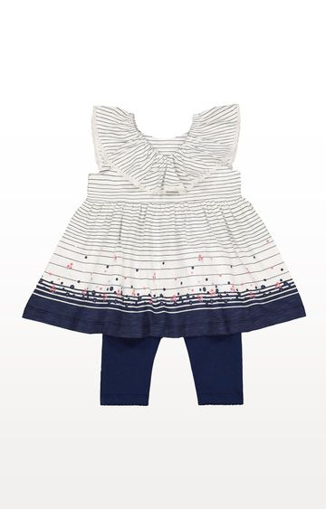 Mothercare | Navy Striped Floral Dress and Navy Leggings Set