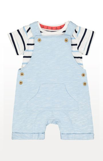 Mothercare | Blue Jersey Bibshorts and Bodysuit Set