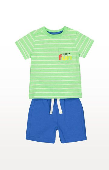 Mothercare | Fun Green Stripe T-Shirt And Blue Shorts Set