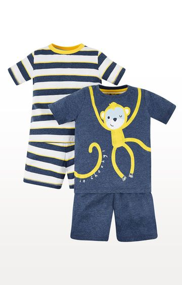 Mothercare | Boys Monkey And Stripe Pyjamas – 2 Pack - Blue