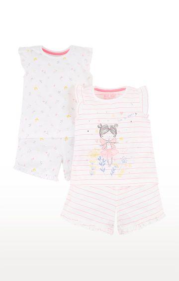 Mothercare | White and Pink Printed Sleepwear Pyjamas