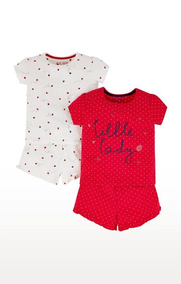 Mothercare | White and Red Printed Sleepwear Pyjamas