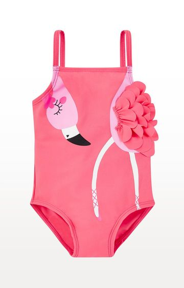Mothercare | Pink Printed Flamingo Ballerina Swimsuit