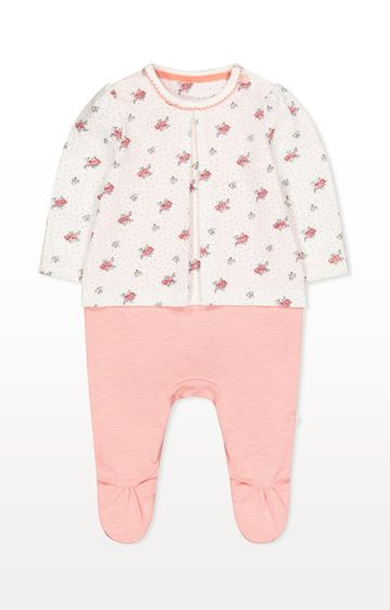 Mothercare | Pink Ditsy Floral Mock T-Shirt All In One