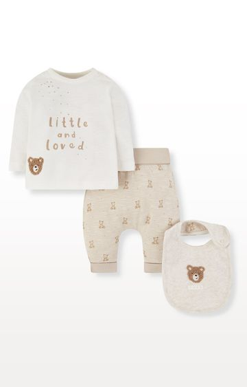 Mothercare | My First Little and Loved Bear Bib, T-Shirt and Joggers Set