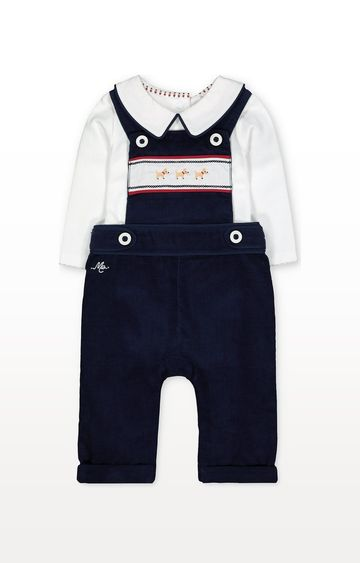 Mothercare | Navy Cord Dungarees And Bodysuit Set