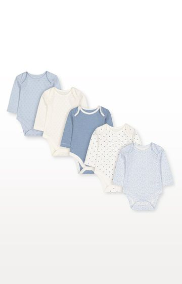 Mothercare | Pretty Blue and White Bodysuits - Pack of 5