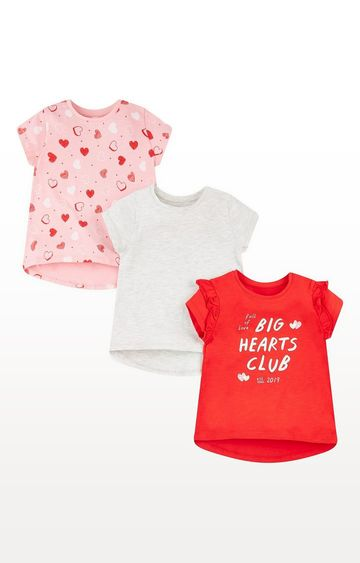 Mothercare | Big Hearts Club Red, Grey And Pink T-Shirts - 3 Pack