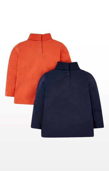 Mothercare | Navy Dinosaur And Orange Roll-Neck Jumpers - 2 Pack