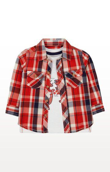 Mothercare   Orange Check Shirt And Roar Love You Dinosaur T-Shirt Set