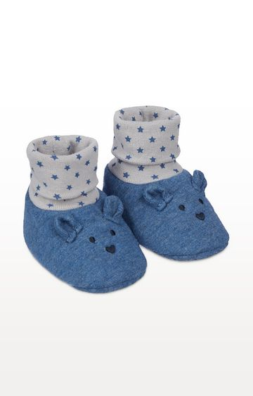 Mothercare | Navy Bear Sock Top Booties