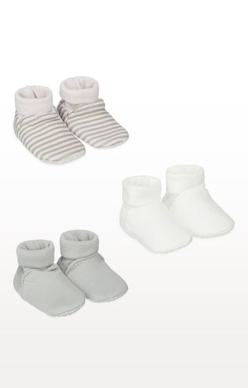 Mothercare | My First Grey Sock Top Baby Booties - 3 Pack