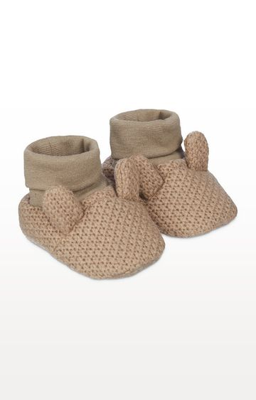 Mothercare   Brown Knitted Bunny Sock Top Baby Booties