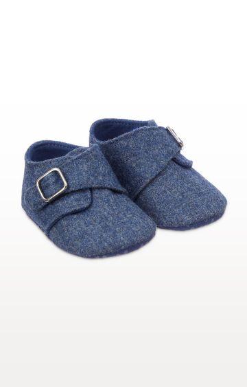 Mothercare | Blue Felt Pram Shoes