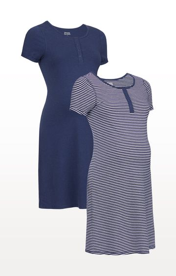 Mothercare | Navy Stripe and Marl Nursing Nightdresses - Pack of 2
