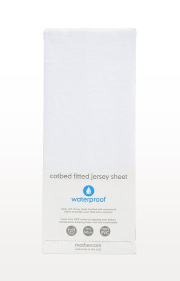 Mothercare | White Waterproof Jersey Cotton Fitted Cot Bed Sheet