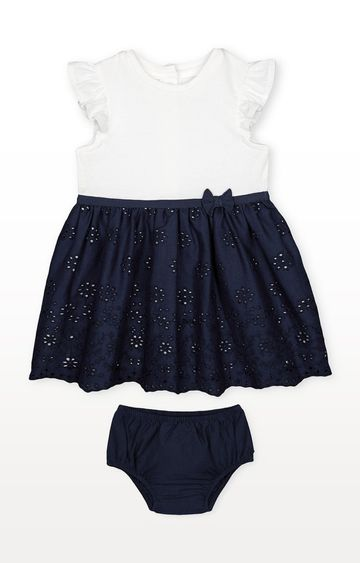 Mothercare | Heritage Navy Broderie Skirt Dress and Knickers Set
