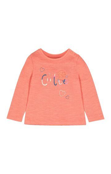 Mothercare   Peach Printed T-Shirt