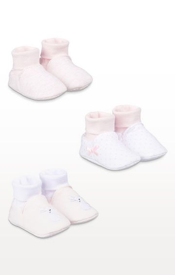 Mothercare | My First Pink Sock Top Baby Booties - 3 Pack