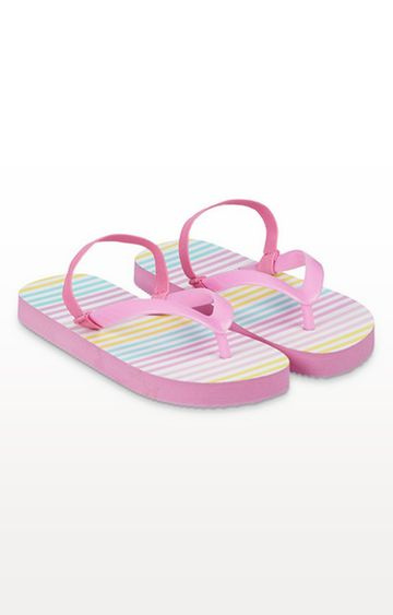 Mothercare | Pink Striped Flip Flops With Ankle Strap