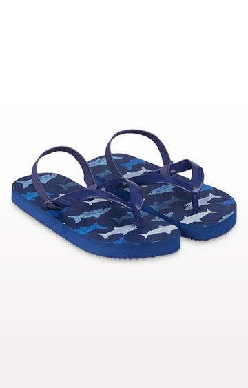 Mothercare | Blue Shark Flip Flops With Ankle Strap