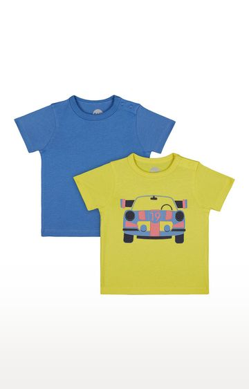 Mothercare   Boys Half Sleeve Round Neck Tee - Blue and Yellow