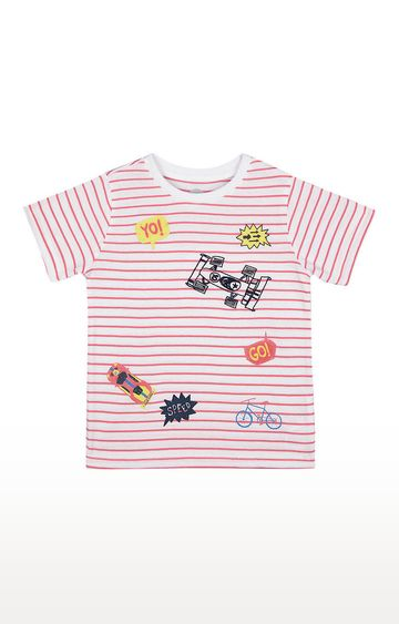 Mothercare | Boys Half Sleeve Round Neck Tee - Printed Pink