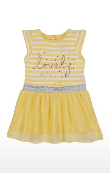 Mothercare | Girls Half Sleeve Partywear - Printed Yellow