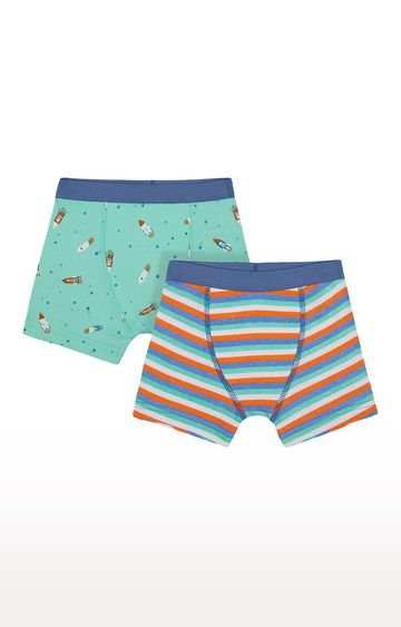 Mothercare | Sea Green and Blue Printed Briefs - Pack of 2