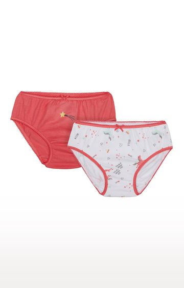 Mothercare | Orange and White Printed Panties - Pack of 2