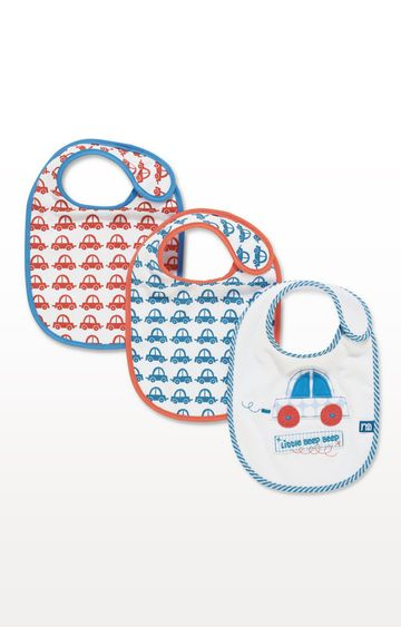Mothercare | White Printed Bibs - Set of 3