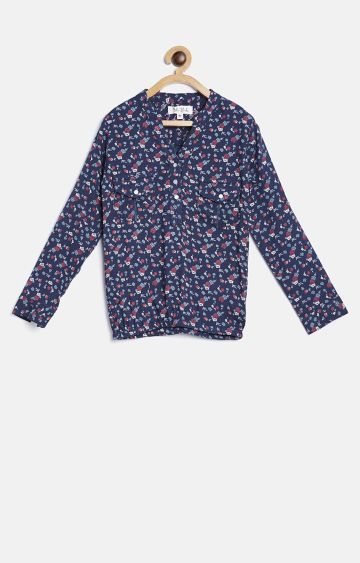 Bellamoda | Navy Printed Top