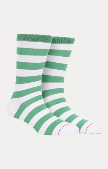 Soxytoes | Green and White Striped Socks