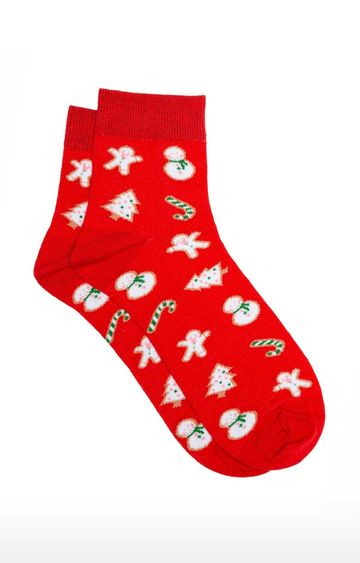 Soxytoes | Ginger Bread Cookies Red Cotton Ankle Length Unisex Casual Socks