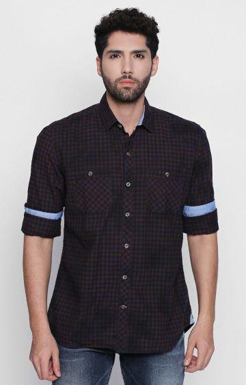 DISRUPT   Brown Checked Casual Shirt