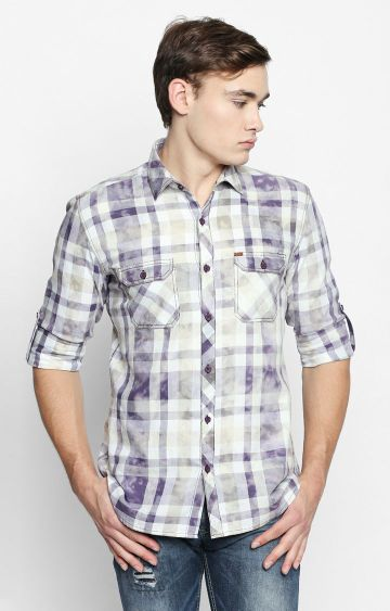 DISRUPT | Purple Checked Casual Shirt